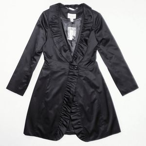 White House Black Market Black Satin Ruffle Coat